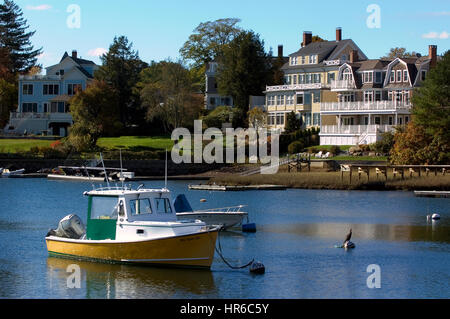 The harbor in the seaside  town of Manchester by the Sea, Massachusetts - Setting for the movie of the same name. - Stock Photo