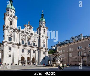 Salzburg Cathedral, Domplatz, Salzburg, Austria - Stock Photo