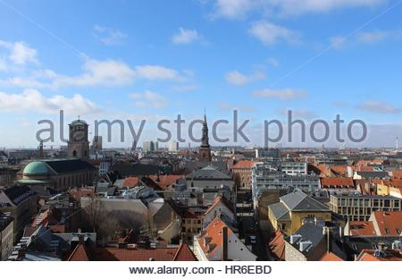 View of the city of Copenhagen from the top of the Rundetaarn. The Church of Our Lady can be seen to the left. - Stock Photo