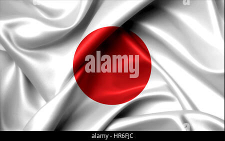 Japan flag on old background retro effect, close up - Stock Photo