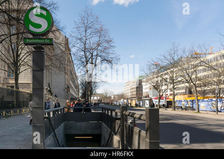 Unter den Linden Avenue, S-Bahn subway station entrance at Brandenburger Tor, Berlin, Brandenburg, Germany - Stock Photo