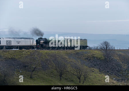 Puffing smoke, locomotive, No. 60163 Tornado, (brand new Peppercorn A1 Pacific) about to travel across the Ribblehead - Stock Photo