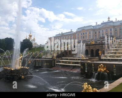 The Peterhof Palace in Petergof, Saint Petersburg, Russia - Stock Photo
