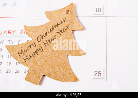Rendering Image Merry Christmas And Happy New Year On Tree Card Close Up At Date 25th