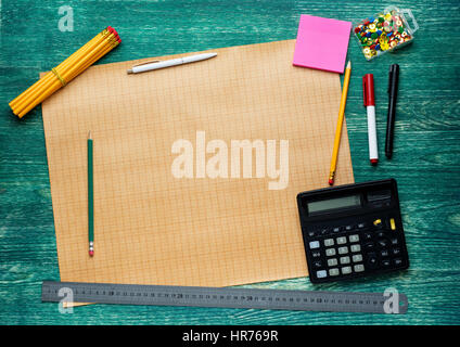 Engineering tools view from top.Architect rolls and plans.architectural plan,technical project drawing . - Stock Photo