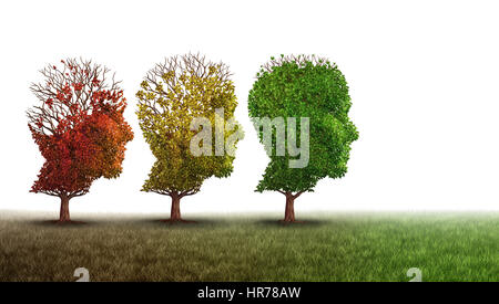 Dementia and mental health recovery treatment and Alzheimer brain memory disease therapy concept as old trees recovering - Stock Photo