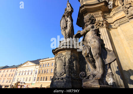 Detail of cherub sculpture at Holy Trinity Column (1716-1754) in Upper Square (Horni nam) Olomouc, Moravia, Czech - Stock Photo