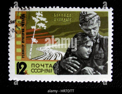 MOSCOW, RUSSIA - JANUARY 7, 2017: A stamp printed in USSR shows a scene from Ballad of a soldier film (1959), circa - Stock Photo