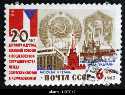 MOSCOW, RUSSIA - JANUARY 7, 2017: A stamp printed in USSR devoted to 20th anniversary of the Treaty of friendship, - Stock Photo