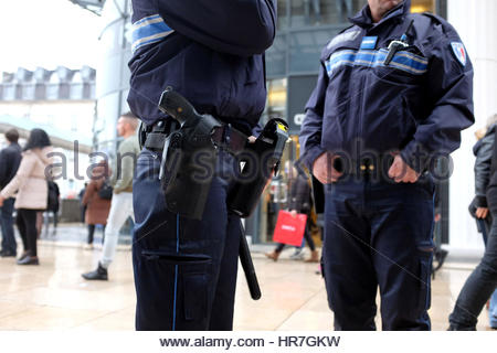 POLICE PATROL IN STREETS OF PAU, PYRENEES ATLANTIQUES, FRANCE - Stock Photo