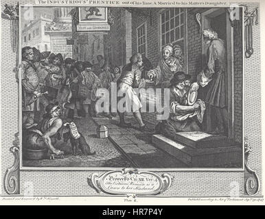 William Hogarth - Industry and Idleness, Plate 6; The Industrious 'Prentice out of his Time, & Married to his Master's - Stock Photo