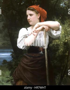 William-Adolphe Bouguereau (1825-1905) - The Haymaker (1869) - Stock Photo