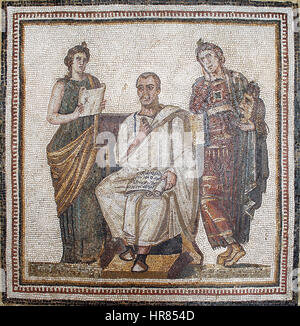 Virgil mosaic in the Bardo National Museum (Tunis) (12241228546) - Stock Photo