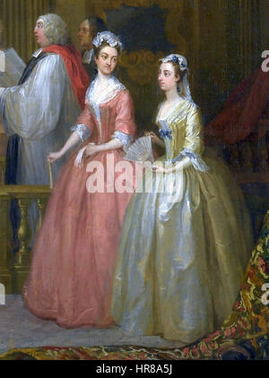 Wedding of Stephen Beckingham and Mary Cox, 1729 by William Hogarth, detail - Stock Photo