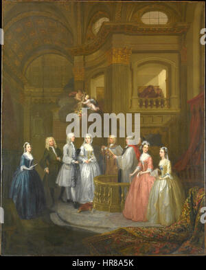 Wedding of Stephen Beckingham and Mary Cox, 1729 by William Hogarth - Stock Photo
