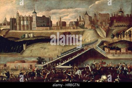 Vista de Madrid desde la salida del puente de Segovia con toros desmandados (Museo de Historia de Madrid) - Stock Photo