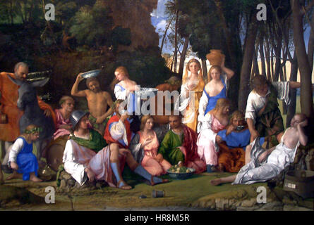 The Feast of the Gods-1514 1529-Giovanni Bellini and Titian half crop - Stock Photo