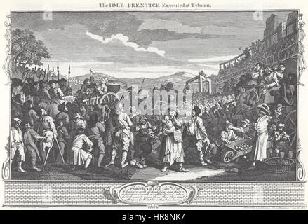 William Hogarth - Industry and Idleness, Plate 11; The Idle 'Prentice Executed at Tyburn - Stock Photo