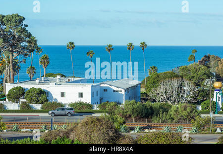 Looking down on the coastal city of Encinitas, California. - Stock Photo
