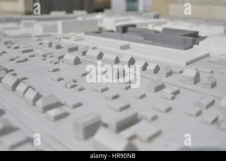 Gedenkstätte Berlin-Hohenschönhausen, Germany, April 23 2016. Top view of the prison on a scale model - Stock Photo