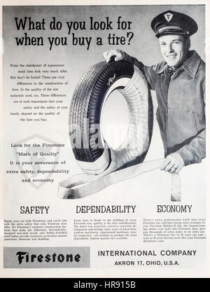 1960s magazine advertisement for Firestone tires or tyres. - Stock Photo