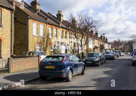 Terraced suburban housing at Keston village in the London Borough of Bromley. - Stock Photo