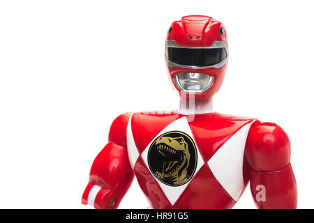 1993 Mighty Morphin Power Rangers 8' Action Figures Red & Black from TV / movie by Bandai - Stock Photo