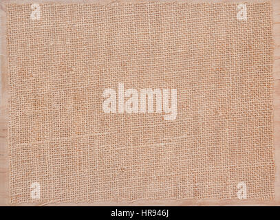 Linen fabric texture grunge on wooden board - Stock Photo