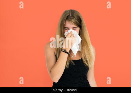 Blonde Girl Crying Sneezing Concept - Stock Photo
