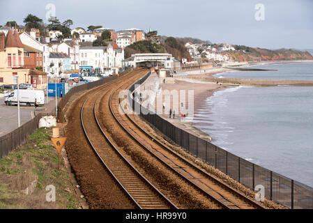 Railway lines run along the coast at Dawlish a seaside resort in south Devon England UK - Stock Photo