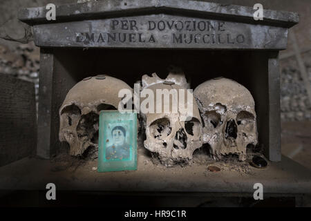 Skulls in the Fontanelle Cemetery in Naples, Italy. - Stock Photo