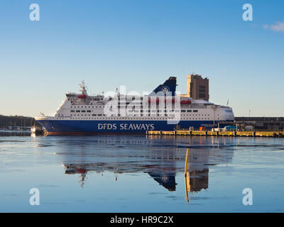 DFDS Seaways operate passenger and car ferries between the Scandinavian capitals Copenhagen and Oslo, here docked - Stock Photo