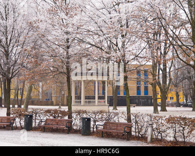 Drammen town park with its circular music pavilion on an idyllic snowy winter day, in Buskerud Norway west of Oslo - Stock Photo