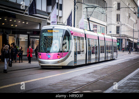 Birmingham Tram, Corporation Street Birmingham, UK - Stock Photo
