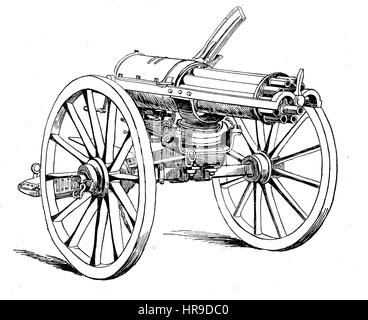 A mitrailleuse, grapeshot is a type of volley gun with multiple barrels of rifle calibre that can fire either multiple - Stock Photo