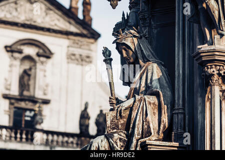 Personification of the Faculty of Arts, decoration of the statue of Charles IV. Prague, Czech Republic - Stock Photo