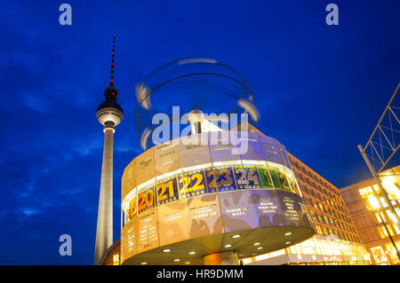 BERLIN - OCTOBER 2: Berlin's Alexanderplatz, Weltzeituhr (World Time Clock), and TV Tower on October 2, 2010 in - Stock Photo