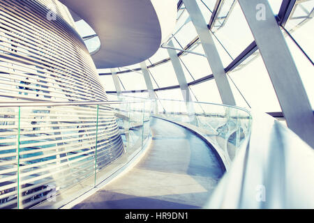 BERLIN, GERMANY - DEZEMBER 12: View of Reichstag dome on Dezember 12, 2015 in Berlin, Germany. The Reichstag dome - Stock Photo