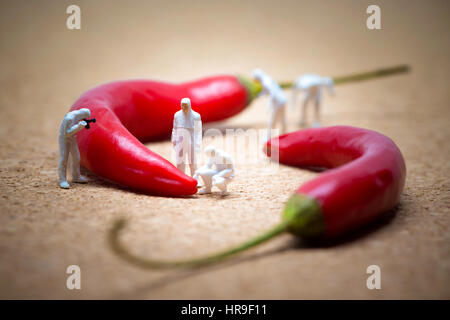 Team of criminalists inspecting red chili peppers. - Stock Photo