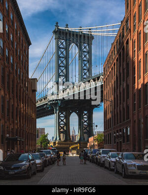 The Manhattan Bridge tower as seen from DUMBO in Brooklyn - Stock Photo