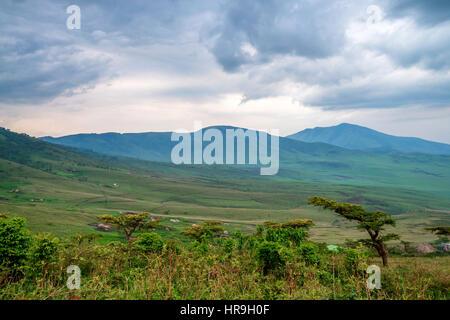 Landscape in Tanzania, depression near Ngorongoro - Stock Photo