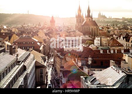 Overview of Historic Centre at sunset. Prague, Czech Republic. - Stock Photo