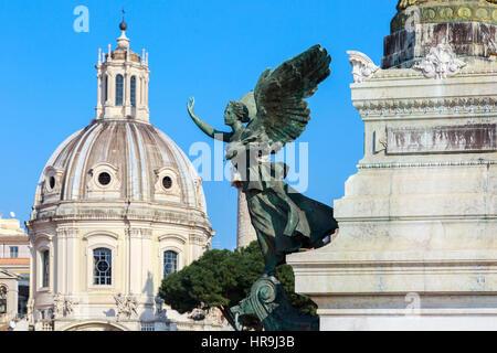 Statue detail outside monument to Vittorio Emanuele,  Via San Marco, Piazza Venezia, Rome, Italy - Stock Photo