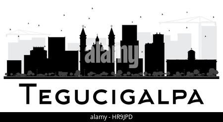 Tegucigalpa City Skyline black and white silhouette. Vector illustration. Simple flat concept for tourism presentation, - Stock Photo