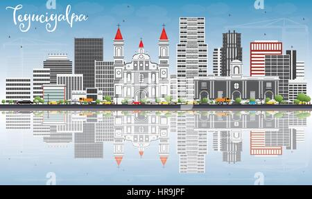 Tegucigalpa Skyline with Gray Buildings, Blue Sky and Reflections. Vector Illustration. Business Travel and Tourism - Stock Photo