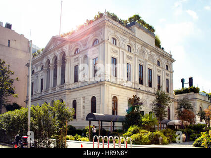 View of Soho House Club with lens flares in Pera area in Beyoglu district of Istanbul - Stock Photo