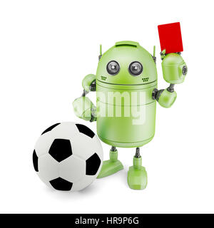 Robot playing soccer. Isolated on white - Stock Photo