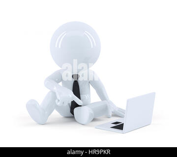 Business man sitting and using a laptop. Isolated on white background - Stock Photo