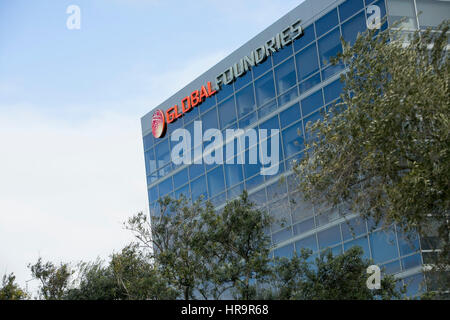 A logo sign outside of the headquarters of GlobalFoundries in Santa Clara, California, on February 18, 2017. - Stock Photo