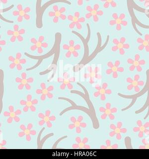 Blooming sakura seamless pattern. All objects are conveniently grouped and easily editable - Stock Photo